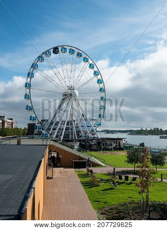 HELSINKI, FINLAND - SEPTEMBER 11:  The Helsinki Skywheel on September 11, 2017 in Helsinki, Finland. The Finnair Skywheel opened in 2014.