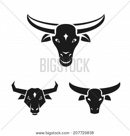 Bull ancient emblems elements set. Heraldic vector design elements collection. Retro style label heraldry logo.
