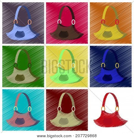 assembly flat shading style icons clothes Handbag
