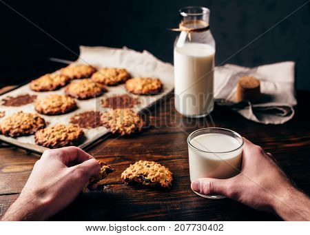 Homemade Oatmeal Cookies. Male Hands Hold a Cookie and Glass of Milk. Some Cookies on Parchment Paper with Bottle on Backdrop.