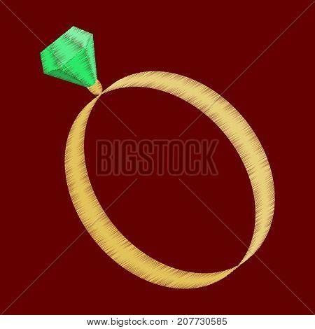 flat shading style icon engagement ring jewelery