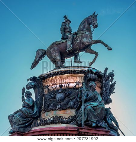 St. Petersburg, Russia - September 24, 2017: The Monument to Nicholas I, a bronze equestrian monument of Nicholas I of Russia on St Isaac's Square in front of Saint Isaac's Cathedral.