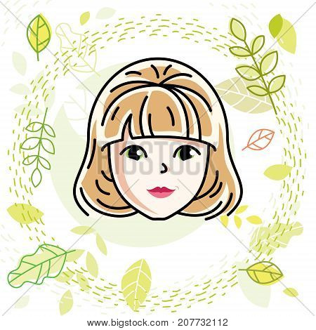 Caucasian woman face vector human head illustration. Attractive blonde female with stylish haircut.