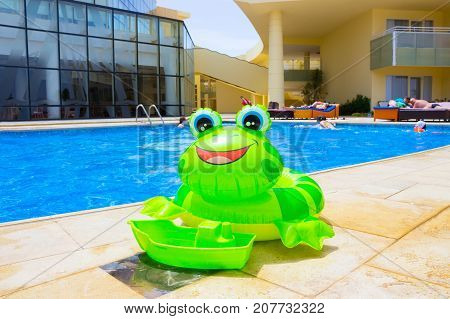 Sharm El Sheikh, Egypt - April 8, 2017: The people resting at pool of luxury hotel Barcelo Tiran Sharm 5 stars at day at Sharm El Sheikh, Egypt on April 8, 2017