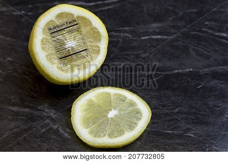 Lemon Half With Nutritional Label