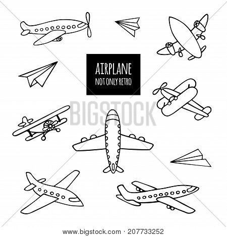 Set of airplanes hand-drawn. The contours of the aircraft in Doodle style on white background. You can decorate.