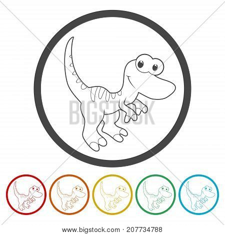 Cute Cartoon Dinosaur icons set, simple vector icon