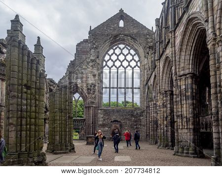 EDINBURGH, SCOTLAND - JULY 28: Ruins of Holyrood Abbey  on July 28, 2017 in Edinburgh, Scotland. Holyrood Palace is the official residence of the Monarch of the United Kingdom in Edinburgh, Scotland.