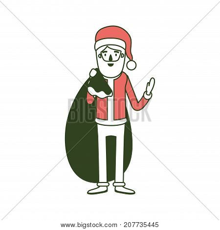 santa claus caricature full body with gift bag hat and costume on color section silhouette vector illustration
