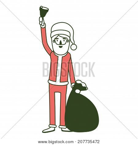 santa claus caricature full body holding a hand bell and gift bag with hat and costume on color section silhouette vector illustration