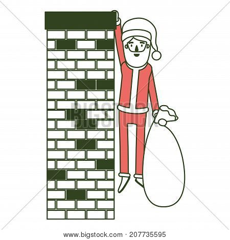 santa claus caricature full body hanging of chimney brick fireplace and holding a gift bag with hat and costume on color section silhouette vector illustration