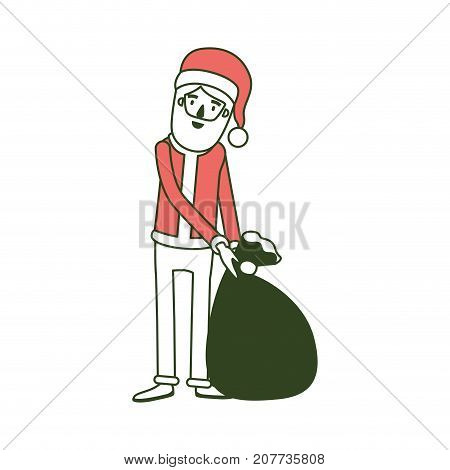 santa claus caricature full body dragging a gift bag hat and costume on color section silhouette vector illustration