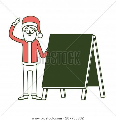 santa claus caricature full body with a placard and hat with christmas costume on color section silhouette vector illustration