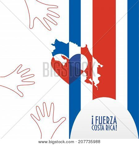 Vector illustration for Costa Rica relief and recovery after hurricane Nate, floods, landfalls. Supporting victims, charity and aid work promotion. Map, Heart and text in Spanish: Strong Costa Rica.
