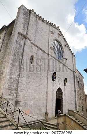 Facade of the Cathedral of Gubbio Umbria - Italy