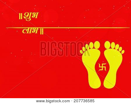 illustration of feet and swastik a symbol of Hinduism with Shubh Labh text in hindi language on the occasion of hindu festival Diwali