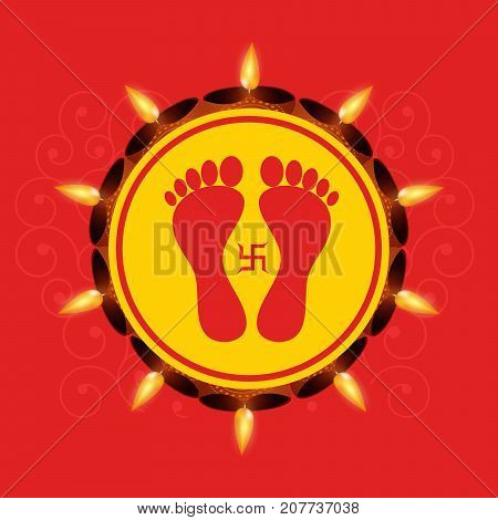 illustration of feet and swastik a symbol of Hinduism on the occasion of hindu festival Diwali
