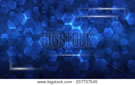 Illustration frame of glowing parts in background of hexagons and hexagons , asbtract blue tech background. Blank business cards, poster presentation