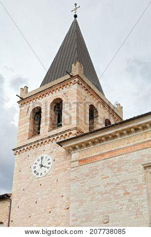The outdoor facade of Spello Santa Maria Maggiore cathedral Umbria.
