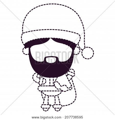 santa claus faceless holding gift bag on dotted monochrome silhouette vector illustration