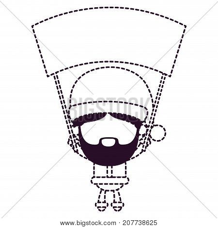 santa claus faceless holding up a wooden poster on dotted monochrome silhouette vector illustration