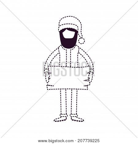 santa claus faceless caricature full body holding a wooden piece with hat and costume on dotted monochrome silhouette vector illustration