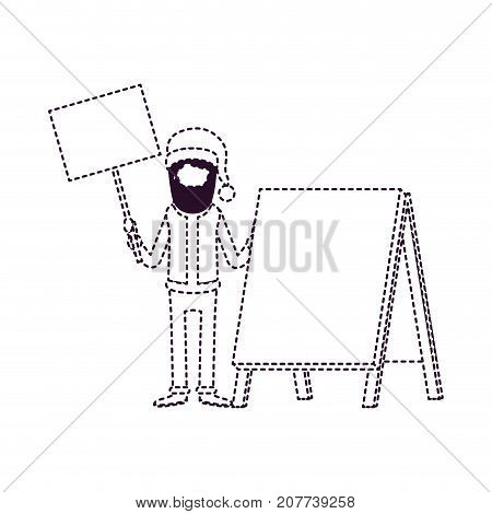 santa claus faceless caricature full body holding a wooden poster and empty advertising with hat and costume on dotted monochrome silhouette vector illustration