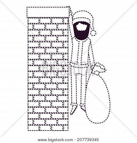 santa claus faceless caricature full body hanging of chimney brick fireplace and holding a gift bag with hat and costume on dotted monochrome silhouette vector illustration