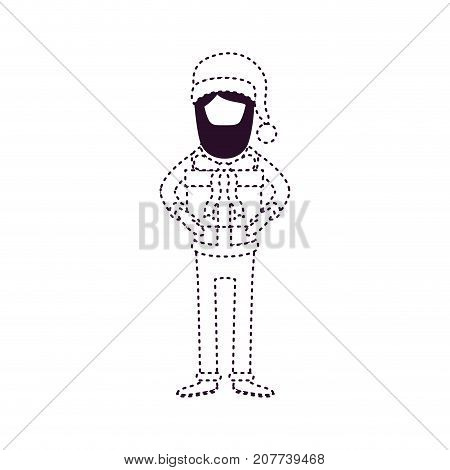 santa claus faceless caricature full body with gift box hat and costume on dotted monochrome silhouette vector illustration
