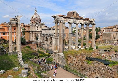 ROME ITALY - JUNE 11 2016: Image of Roman Forum in Rome Italy