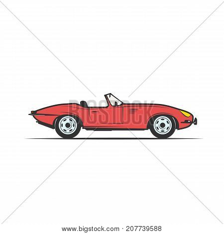 red cabriolet old car - vector illustration clipart