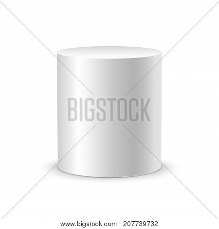 White cylinder on white background isolated. 3d object cylinder container design template.