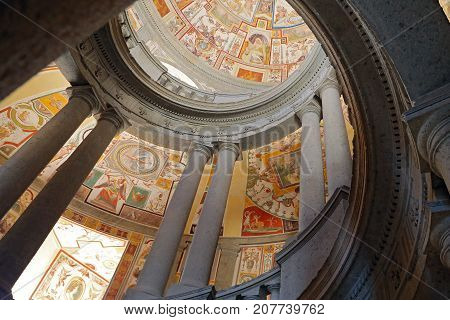 CAPRAROLA, ITALY - OCTOBER 16, 2016:  La Scala Regia of the Palazzo Farnese