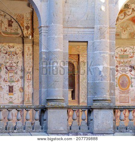 CAPRAROLA, ITALY - OCTOBER 16, 2016:  Villa FarneseThe inner courtyard of circular shape