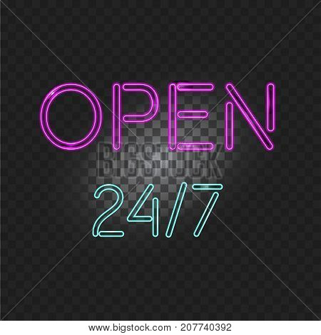Neon light open 24 hours 7 days isolated on a transparent background. Vector Illustration for gift card, certificate, voucher, night club, bar neon sign