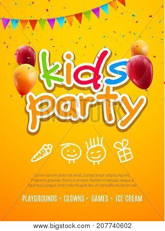 Kids party invitation design template. Child celebrating fun flyer poster banner decoration.
