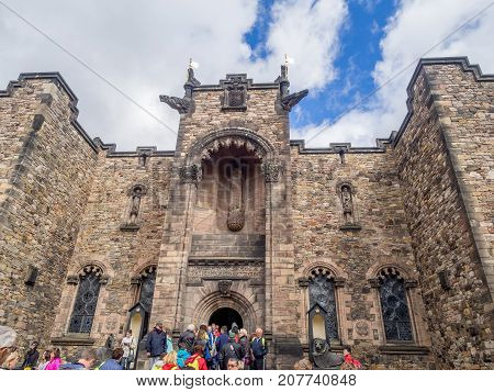 EDINBURGH, SCOTLAND - JULY 29: External facades of buildings and fortifications at Edinburgh Castle on July 29, 2017 in Edinburgh Scotland. Edinburgh Castle is full of many ancient buildings.
