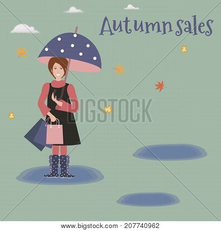 Pretty scenery in a rustic style. A woman in rain boots with polka dots. A cute umbrella. Green background. Caption `Autumn sales`. Puddles. Yellow leaves. White clouds. Vector illustration