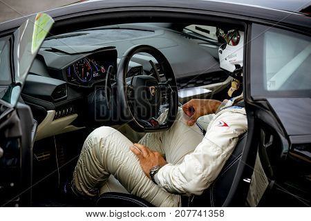 Vallelunga, Italy September 24 2017. Lamborghini Safety Car Driver Waiting Closeup