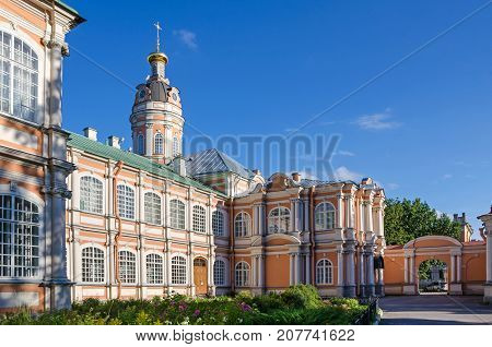 The monastery grounds of the Saint Alexander Nevsky Lavra or Saint Alexander Nevsky Monastery with the metropolitan buildings and the baroque church of the Holy Prince Fyodor in Saint Petersburg Russia.