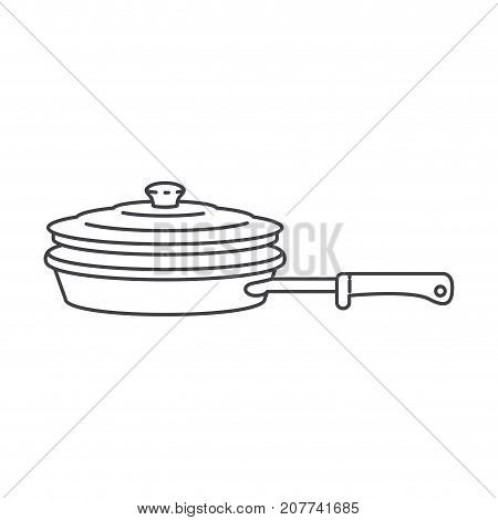 stewpan with handle and lid monochrome silhouette vector illustration