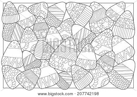 Candy corn sweets vector coloring page. Candy corn with ornament. Halloween coloring page. Candy corn background. Sweet kernel with patterns. Halloween coloring book for children. Halloween sweets