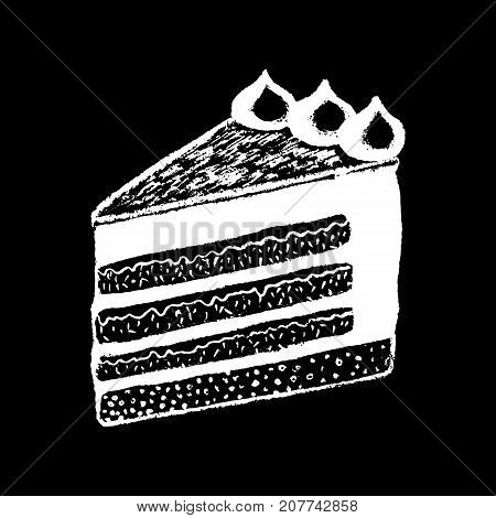 Cake piece white chalk on black chalkboard vector illustration. Sweet pie piece. Cafe or coffee bar menu. Cheesecake logo. Creamy cake piece. Tasty dessert icon. White cream top layered cake dessert