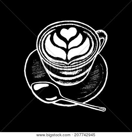 Coffee cup white chalk on black chalkboard vector illustration. Coffee cup with heart foam drawing. Morning breakfast drink by white chalk on blackboard. Cappuccino with milk foam. Coffee shop logo