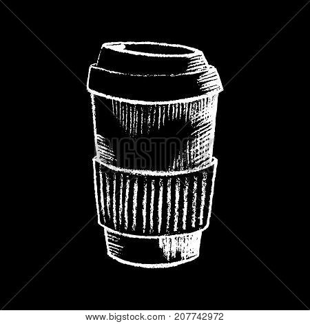 Coffee paper cup white chalk on black chalkboard vector illustration. Big paper coffee cup on blackboard. Coffee shop or bar menu icon. Takeaway drink chalkboard drawing. Coffee to go logo. Hot drink