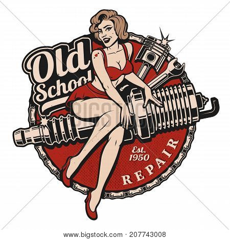 Spark Plug Pin Up Girl illustration with piston and wrench. Vintage syle. (Color version) All elements text are on the separate layer.