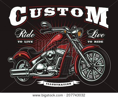 Vintage t-shirt design with american classic chopper motorcycle. All elements is on the separate layer.