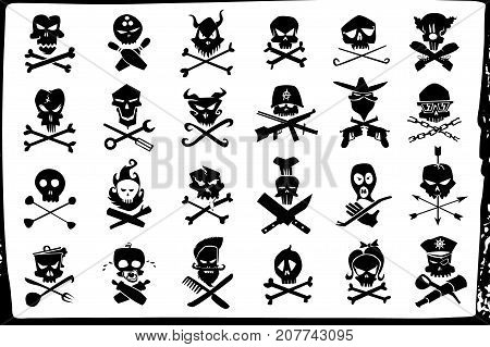 skull and bones logo. vector set design characters evil skull and crossbones black and white elements isolated on white background.