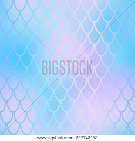 Fantastic fish skin vector background with scale pattern. Mermaid pattern. Pale gradient mesh. Abstract blurry vector background. Fish skin seamless pattern. Mermaid background. Violet blue fishscale