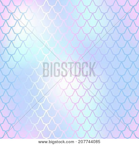 Fantastic fish skin vector background with scale pattern. Mermaid pattern. Pale gradient mesh. Abstract blurry vector background. Fish skin seamless pattern. Mermaid scale background. Soft fishscale